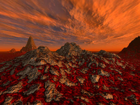 deflated: Rough surface with streams of a lava (a hell, a surface of Mars) on a background very red - a drama decline