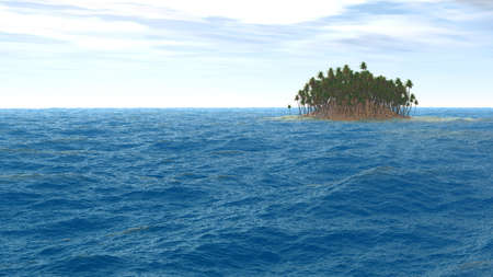 bask: Island with palm trees on horizon of restless ocean