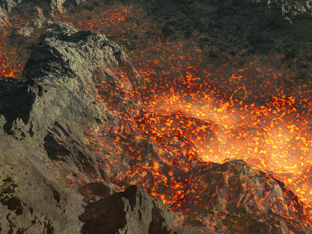 active volcano: Fragment of an active volcano (a raging lava in a crevice of a rock) Stock Photo