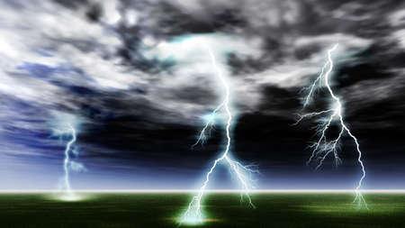rainstorm: Lightning strike in a clean field. Storm, very drama sky
