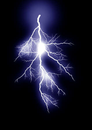 zapping: Lightning strike. Isolated black background Stock Photo