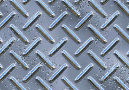 treadplate: Hrome metal background with elements 3D and high corrosion