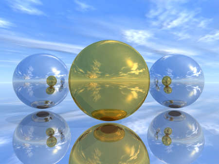 descriptive: Mirror spheres on a smooth surface (100 % of reflection of world around)
