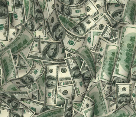 a lot of money: It is a lot of money (dollar of a banknote in a chaotic arrangement) Stock Photo