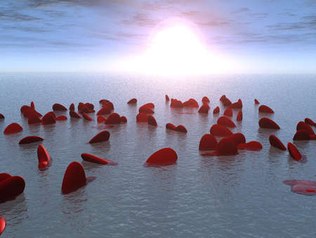 exuberance: It is a lot of hearts floating in the sea on sunrise