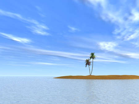 bask: Two palm trees on island on a background of the clear sky
