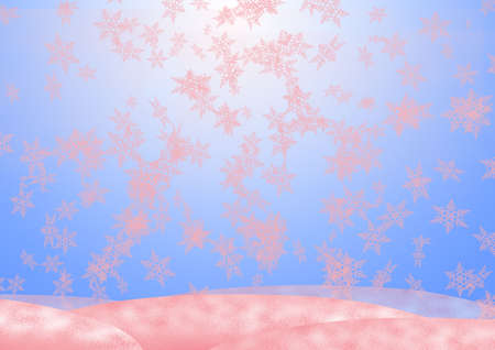 Background on a theme - Pink snow Christmas and New Year with decorative elements (fool size A4) photo