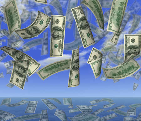 fx: Falling 100 dollar banknotes on a background of the sky in ocean