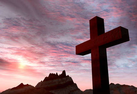methodist: Red stone cross on a background of extremely storm sky and mountains