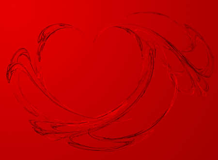 red line:  red background with elements a fractal of heart