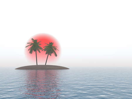 Island with palm trees on a background of the red sun and separately from the sky (the white sky) photo