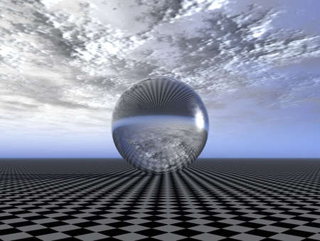 raytracing: Reflecting sphere on a surface of a chess field (reflection of cloudy weather)