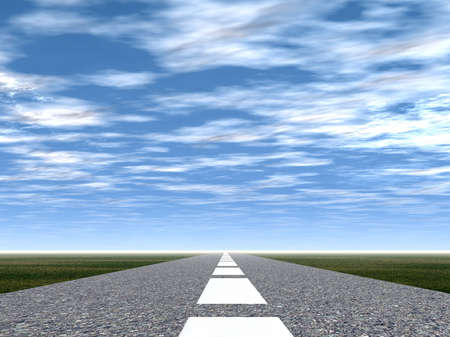 thoroughfare: 3d picture of a road  (asphalt with a white marking) Stock Photo
