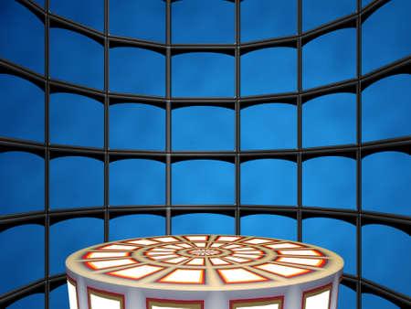 extase: Volumetrische achtergrond (scene_disco), bestaande uit reeks schermen (voor de toevoeging van object op de voorgrond)