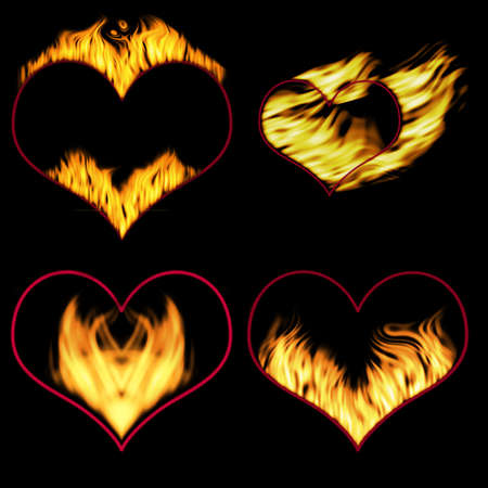 peril:  Burning hearts (hearts for the further editing) Stock Photo