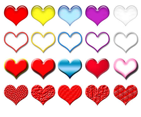 Set of volumetric hearts of various colors and structures photo