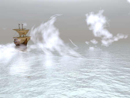 Sailing vessel floating in a dense fog (the ancient ship) Фото со стока