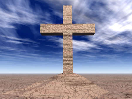 testaments: Stone cross on the cracked ground (the contrast sky) Stock Photo