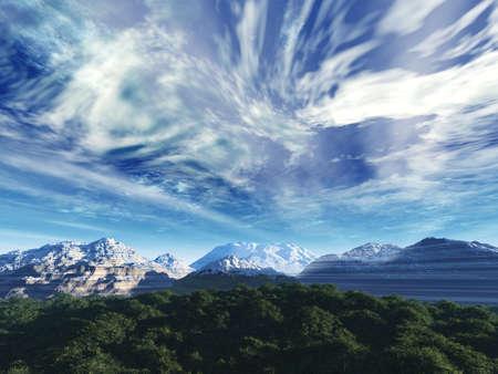 cielo tormenta: La fuerte tormenta de nieve cielo cimas de las monta�as