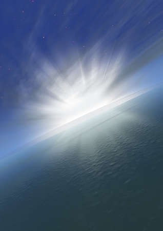 Sunrise from-for a planet the ground (beams passing place} through clouds) Stock Photo