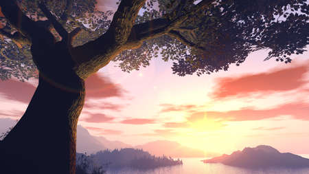 red bluff: Sunset above mountains and water (a tree in the foreground) Stock Photo