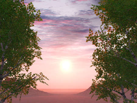 descriptive: Sunset on a background of foliage of trees and two õîëìî in a distance Stock Photo