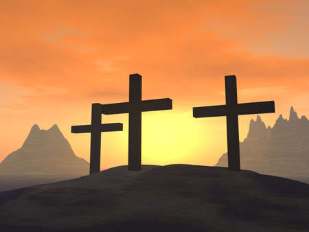nailed: Three crosses on a hill on a background of a sunset Stock Photo