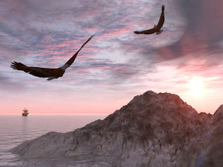 mares: Dos �guilas sobre un fondo de rocas y el mar y un buque de vela en una distancia (cielo muy dram�tico)