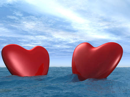 elaboration: Two hearts floating at restless ocean (high detailed elaboration) Stock Photo