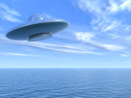 UFO flying above the sea from a fantastic reflecting material Stock Photo - 1755581