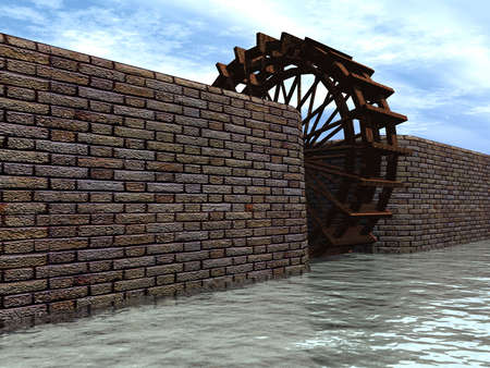 openair: Watermill between walls open-air (an old construction) Stock Photo