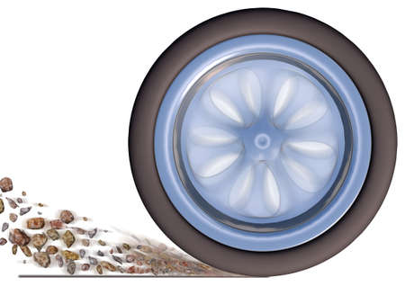 Automobile wheel in movement isolated on a white background (with effect of emission of rubble from under wheels) photo