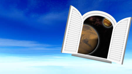 doorknob: Window in space (Sight in space through a window)