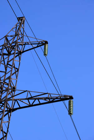 mains: High-voltage support. Support of electric mains Stock Photo