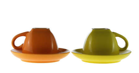 Color cups. Ceramic service from color cups