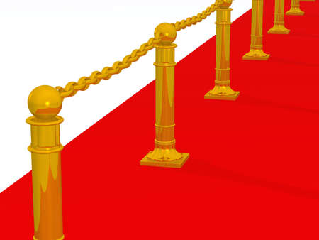 laud: Red path. A fragment of a podium with gold columns Stock Photo
