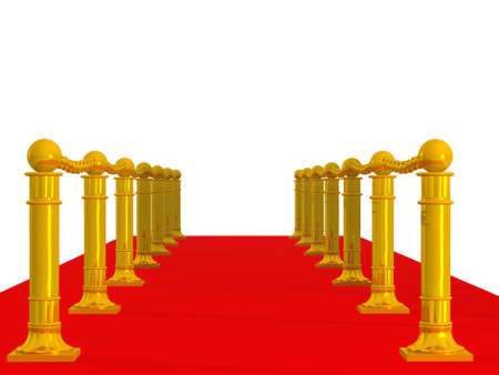 Red path. A fragment of a podium with gold columns Stock Photo