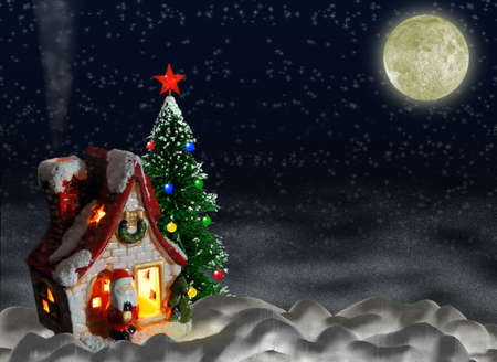 cordial: Christmas night. A night landscape with a toy small house and a fur-tree.