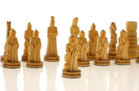 Course a pawn. Chessmen cut out from a tree - handicraft Stock Photo - 2223485