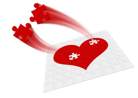 Heart - puzzle. Two fragments of heart symbolize attitudes - motion Stock Photo - 2337289