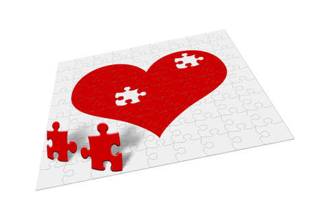 Heart - puzzle. Two fragments of heart symbolize attitudes Stock Photo - 2337284