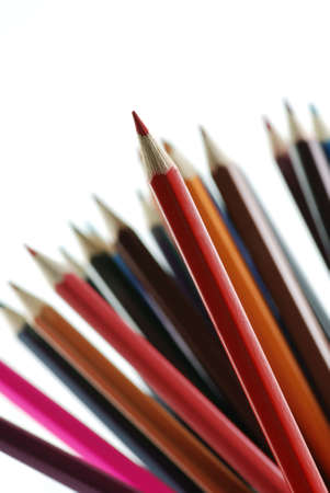 red pencils. It is isolated on a white background photo