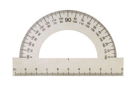 trigonometry: Metal protractor. The mathematical tool, it is isolated on a white background