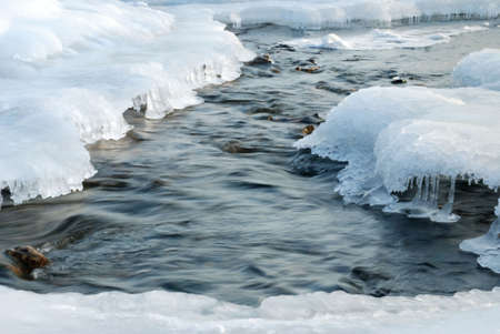 The winter river. An ice-hole in the frozen river with a rough stream Stock Photo - 2389437