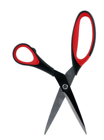 Scissors. It is red black color scale, it is isolated on a white background photo