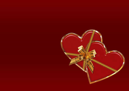 encasement: Card Valentine. A composition from two ������ on a red background with gold inserts