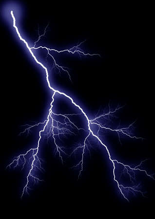thundering: Lightning. Impact of a thunder-storm it is isolated on a black background