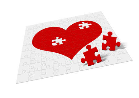 fragments: Heart - puzzle. Two fragments of heart symbolize attitudes - divorce