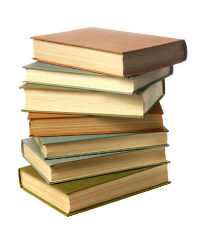 bibliography: Books. A pile of textbooks isolated on a white background