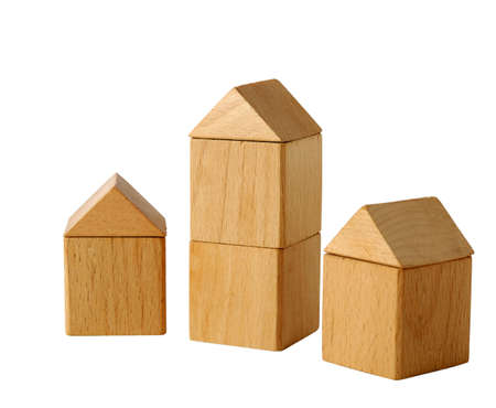 building loan: The house. Toy habitation from wooden blocks